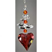 27mm Red Magma Heart with cluster above