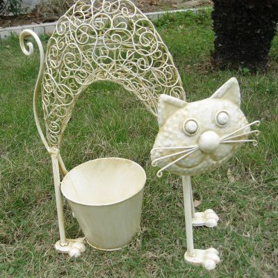 Cat with Pot Under Planter