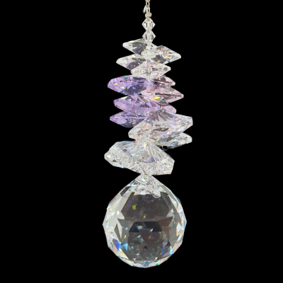 30mm Crystal Sphere with Rosaline and Violet cluster above