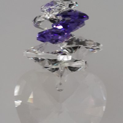 40mm Crystal Heart with Blue Violet cluster above