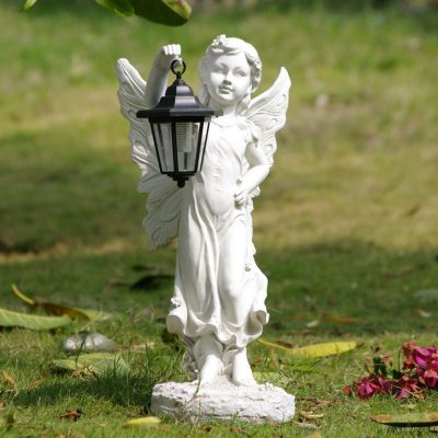 Angel Holding Lantern Solar Light