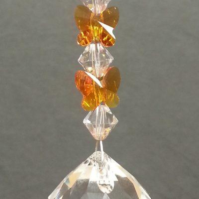 20mm Crystal Sphere with Tangerine Butterflies