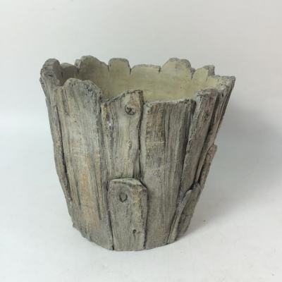 Cement Wood Look Plant Pot