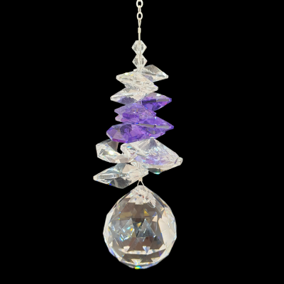 Crystal Suncatcher Sphere with purple cluster