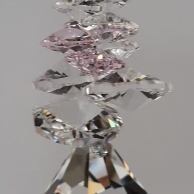 40mm Crystal Bell with Rosaline cluster above