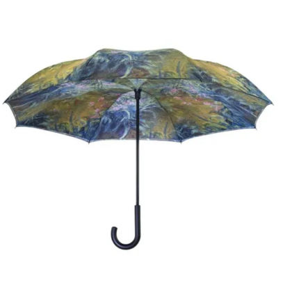 Monet Irises Reverse Cover Umbrella