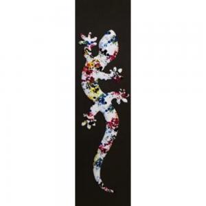 Coloured Lizard on Grey Block