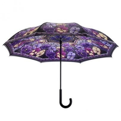 Stained Glass Pansies Reverse Cover Umbrella