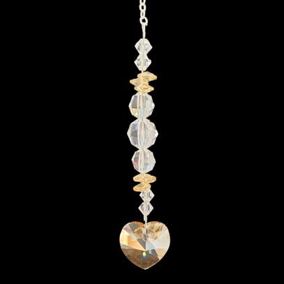 Crystal Suncatcher with Golden Shadow Heart