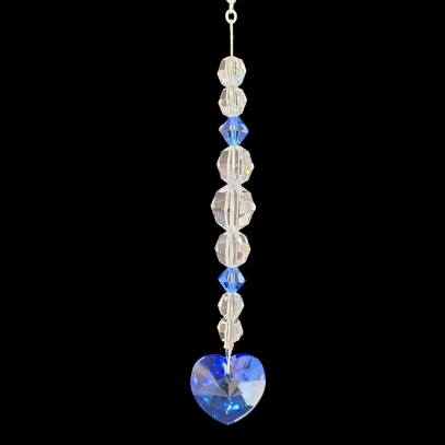 Crystal Suncatcher Sapphire Heart