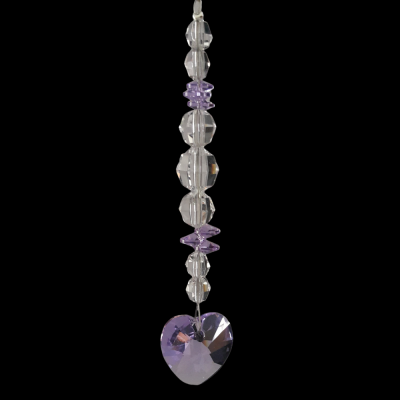 Crystal Suncatcher with Violet Heart